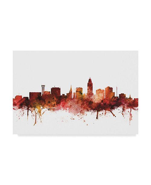 """Trademark Global Michael Tompsett Lincoln Nebraska Skyline Red Canvas Art - 15"""" x 20"""""""