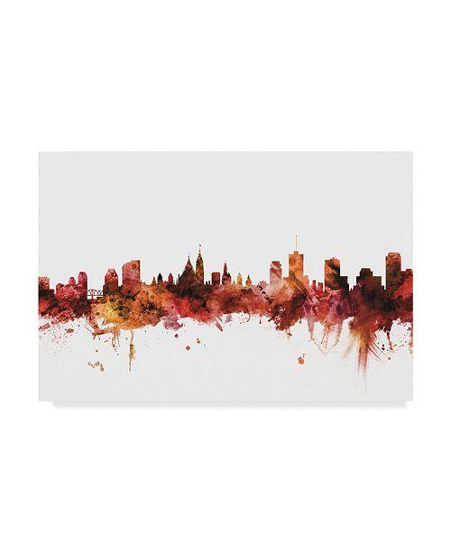 "Trademark Global Michael Tompsett Ottawa Canada Skyline Red Canvas Art - 20"" x 25"""
