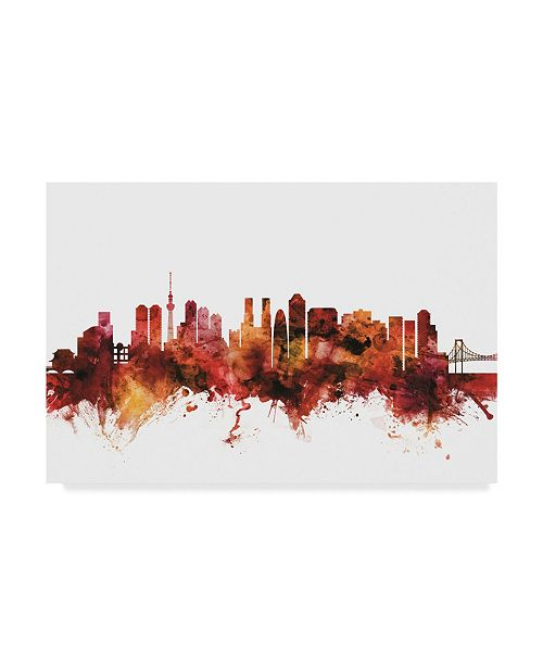 "Trademark Global Michael Tompsett Tokyo Japan Skyline Red Canvas Art - 20"" x 25"""