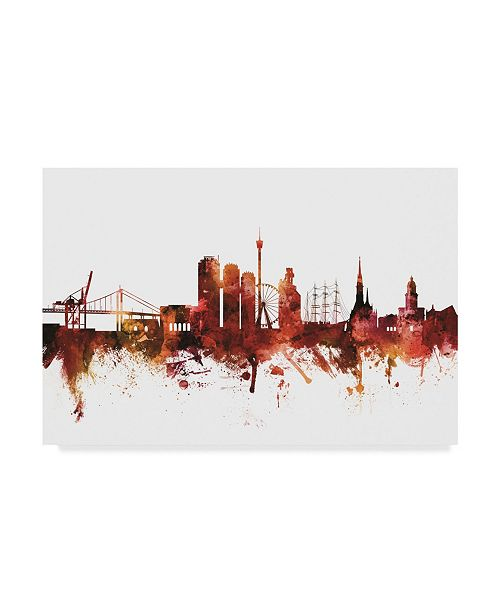"Trademark Global Michael Tompsett Gothenburg Sweden Skyline Red Canvas Art - 20"" x 25"""