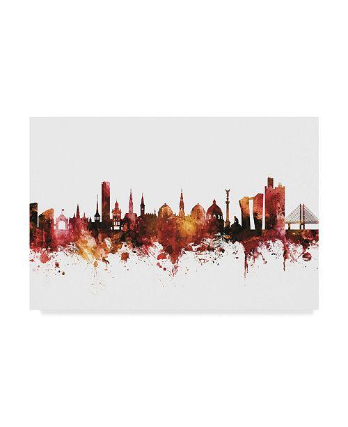 """Trademark Global Michael Tompsett Copenhagen Denmark Skyline Red Canvas Art - 20"""" x 25"""""""