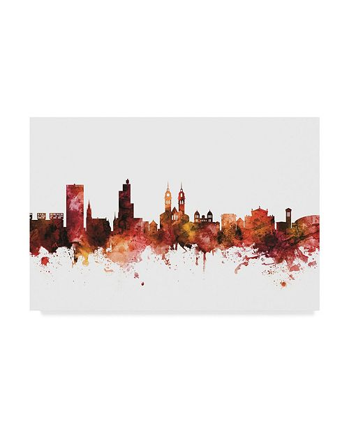 "Trademark Global Michael Tompsett Winterthur Switzerland Skyline Red Canvas Art - 20"" x 25"""