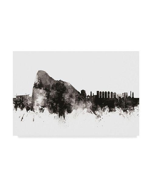 """Trademark Global Michael Tompsett Gibraltar Skyline Black White Canvas Art - 15"""" x 20"""""""