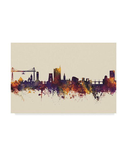 "Trademark Global Michael Tompsett Newport Wales Skyline III Canvas Art - 15"" x 20"""