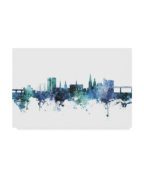 """Trademark Global Michael Tompsett Dundee Scotland Skyline Blue Canvas Art - 20"""" x 25"""""""