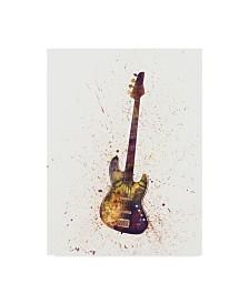 "Michael Tompsett Electric Bass Guitar Abstract Watercolor Canvas Art - 15"" x 20"""