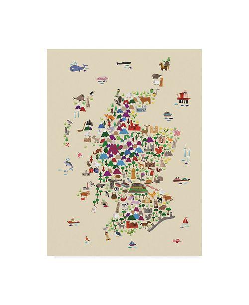 "Trademark Global Michael Tompsett Animal Map of Scotland For Children and Kids Beige Canvas Art - 20"" x 25"""