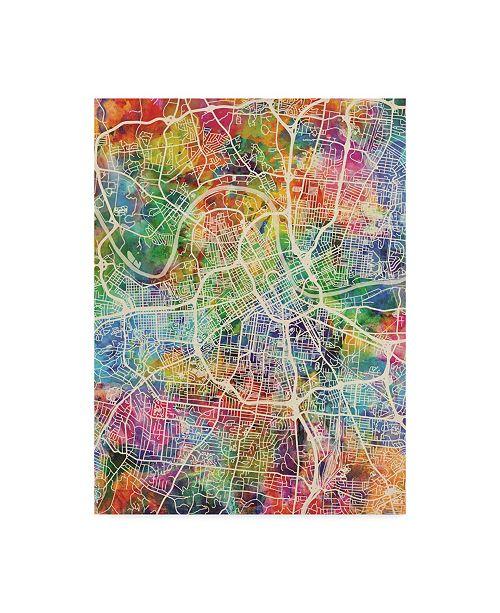 "Trademark Global Michael Tompsett Nashville Tennessee City Map Canvas Art - 15"" x 20"""