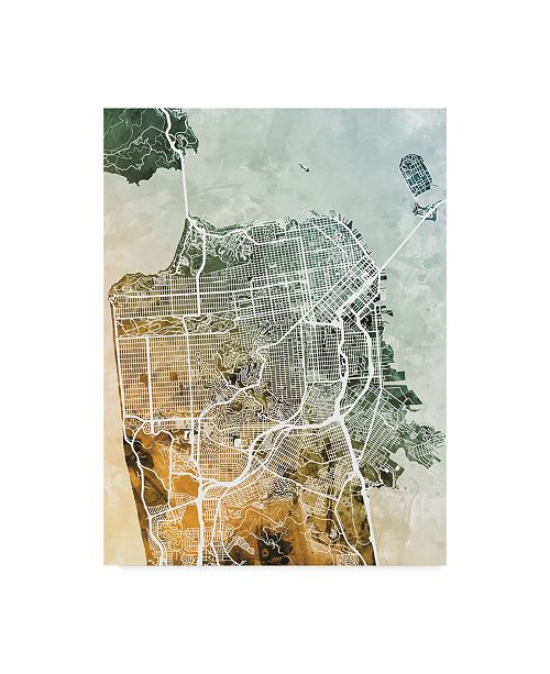 "Trademark Global Michael Tompsett San Francisco City Street Map Teal Orange Canvas Art - 20"" x 25"""
