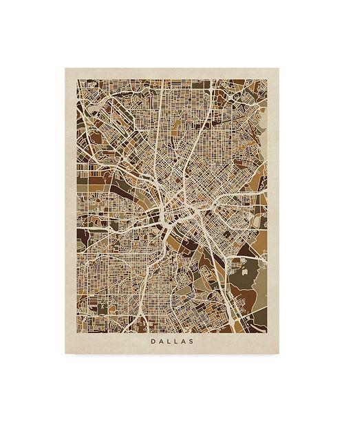 "Trademark Global Michael Tompsett Dallas Texas City Map Brown Canvas Art - 15"" x 20"""