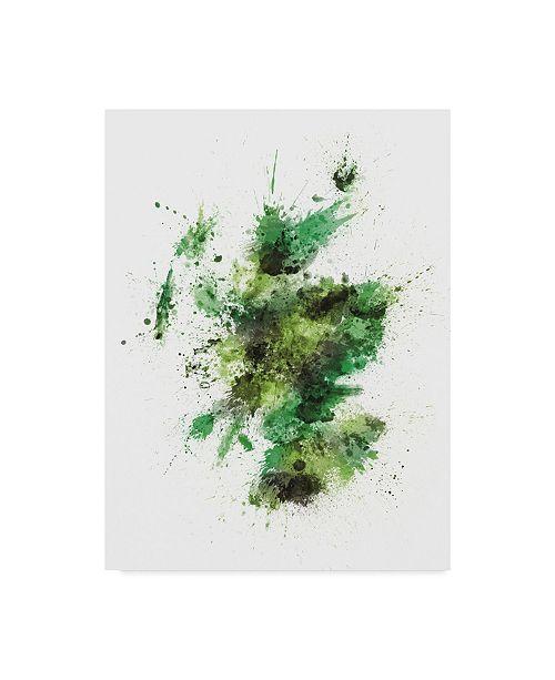 "Trademark Global Michael Tompsett Scotland Paint Splashes Map Green Canvas Art - 15"" x 20"""