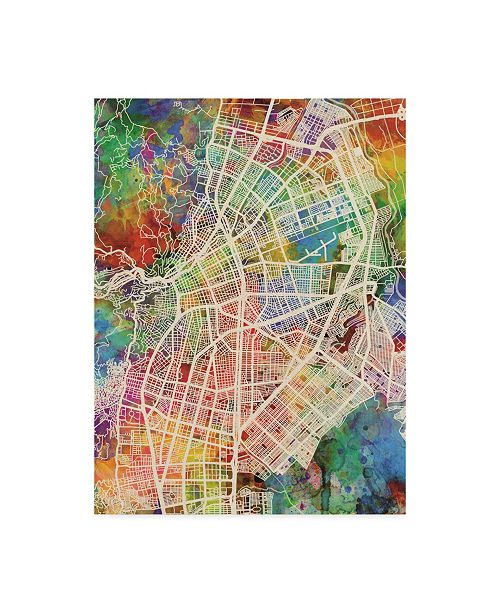 "Trademark Global Michael Tompsett Cali Colombia City Map Canvas Art - 15"" x 20"""