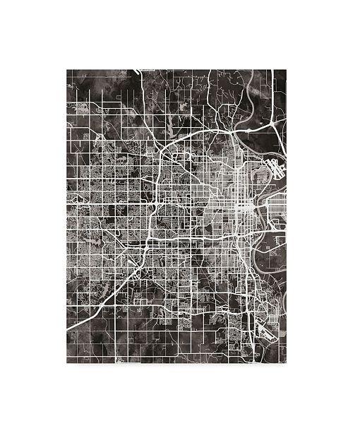 "Trademark Global Michael Tompsett Omaha Nebraska City Map Black Canvas Art - 20"" x 25"""