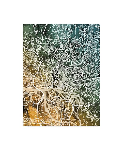 "Trademark Global Michael Tompsett Hamburg Germany City Map Teal Orange Canvas Art - 20"" x 25"""