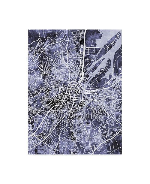 "Trademark Global Michael Tompsett Belfast Northern Ireland City Map Watercolor Blue Canvas Art - 15"" x 20"""