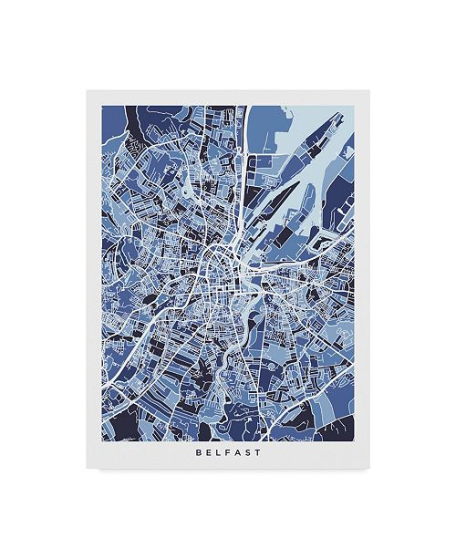 "Trademark Global Michael Tompsett Belfast Northern Ireland City Map Blue Canvas Art - 15"" x 20"""