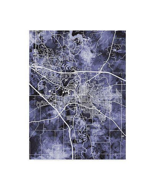 "Trademark Global Michael Tompsett Iowa City Map Blue Canvas Art - 15"" x 20"""
