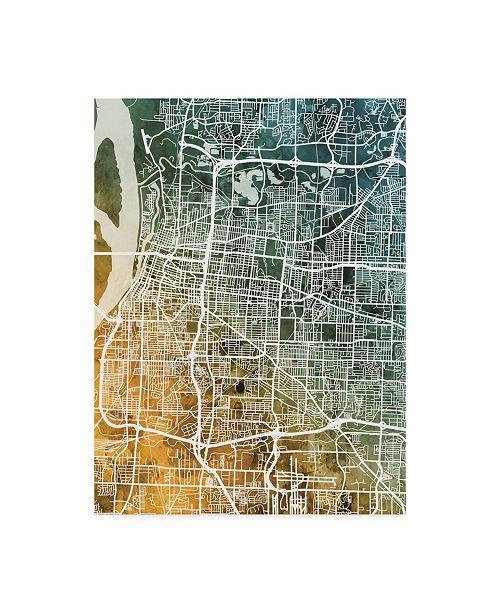 "Trademark Global Michael Tompsett Memphis Tennessee City Map Teal Orange Canvas Art - 15"" x 20"""