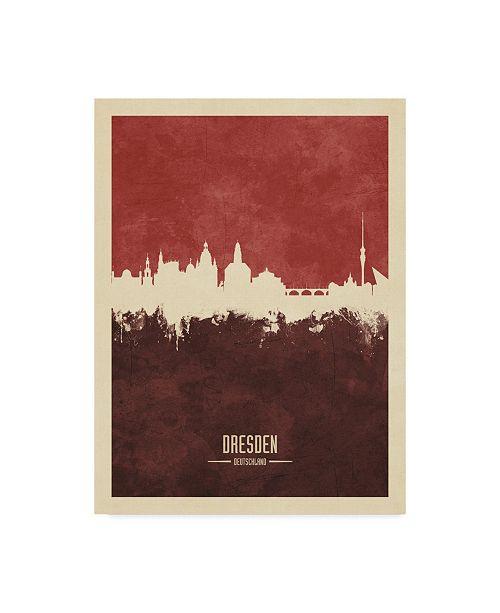"Trademark Global Michael Tompsett Dresden Germany Skyline Red II Canvas Art - 15"" x 20"""