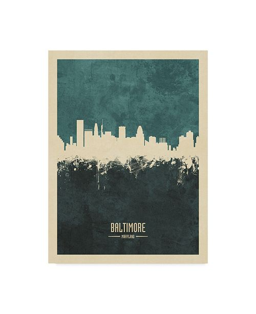 "Trademark Global Michael Tompsett Baltimore Maryland Skyline Teal Canvas Art - 15"" x 20"""