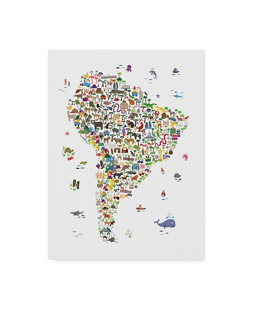 "Trademark Global Michael Tompsett Animal Map of South America For Children and Kids Canvas Art - 15"" x 20"""
