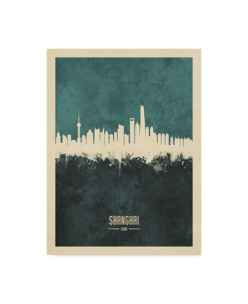 "Trademark Global Michael Tompsett Shanghai China Skyline Teal Canvas Art - 37"" x 49"""