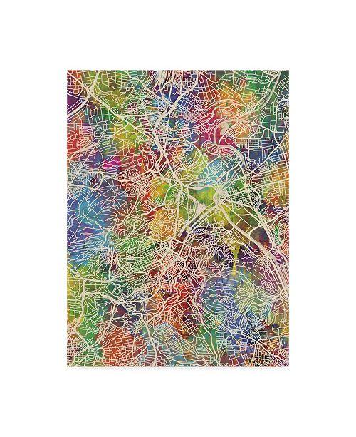 "Trademark Global Michael Tompsett Stuttgart Germany City Map Canvas Art - 15"" x 20"""