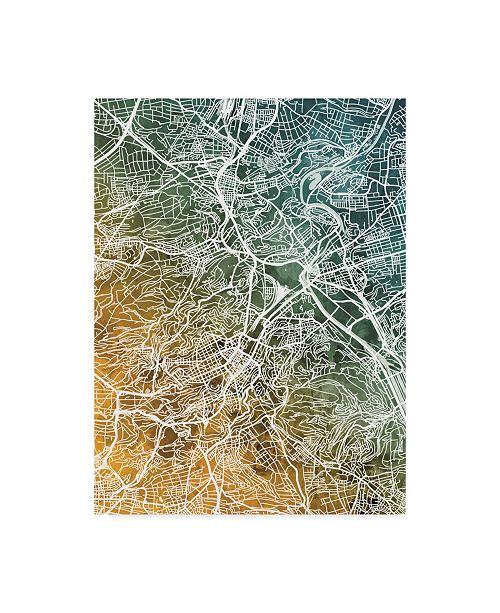 "Trademark Global Michael Tompsett Stuttgart Germany City Map Teal Orange Canvas Art - 15"" x 20"""