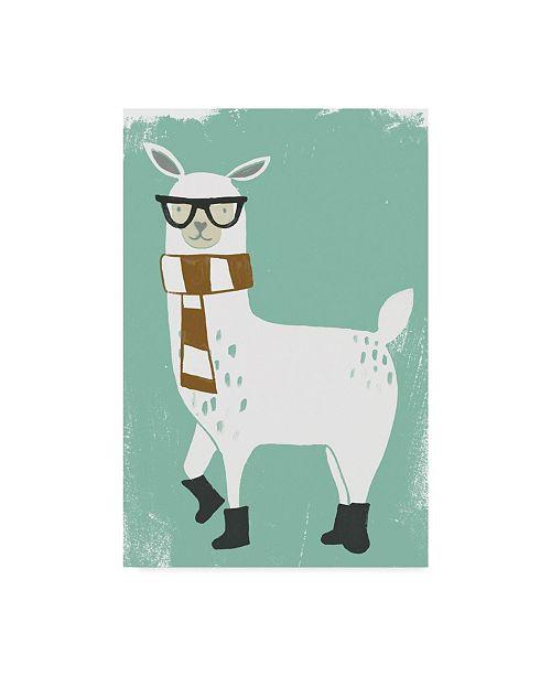 "Trademark Global June Erica Vess Bundle Up Llama II Canvas Art - 37"" x 49"""
