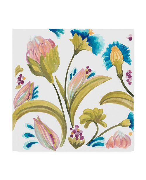 "Trademark Global June Erica Vess Abbey Floral Tiles I Canvas Art - 15"" x 20"""