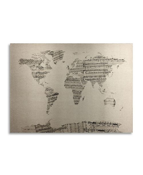 "Trademark Global Michael Tompsett Old Sheet Music World Map Floating Brushed Aluminum Art - 22"" x 25"""