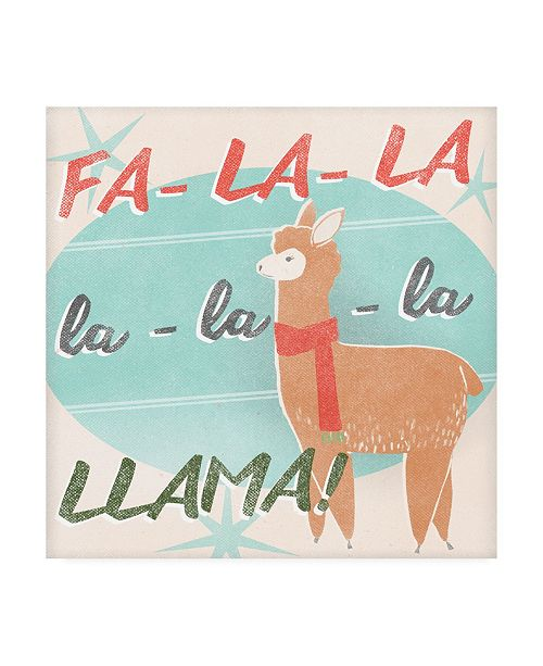 "Trademark Global June Erica Vess Llama Retro Christmas IV Canvas Art - 15"" x 20"""