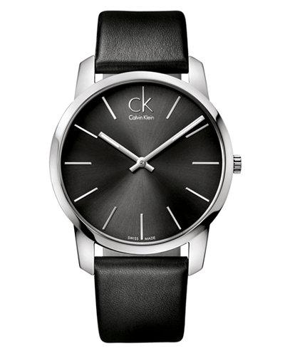 Calvin Klein Watch, Men's Swiss City Black Leather Strap 43mm K2G21107