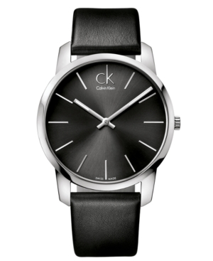 Calvin Klein Watch, Men's Swiss City Black Leather Strap 43mm K2G21107