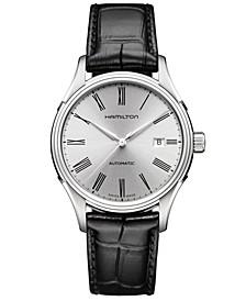 Men's Swiss Automatic Valiant Black Leather Strap Watch 40mm H39515754