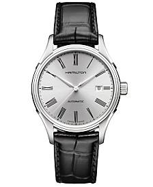 Hamilton Men's Swiss Automatic Valiant Black Leather Strap Watch 40mm H39515754