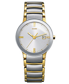 Rado Watch, Women's Swiss Centrix Two-Tone Stainless Steel Bracelet 28mm R30932103