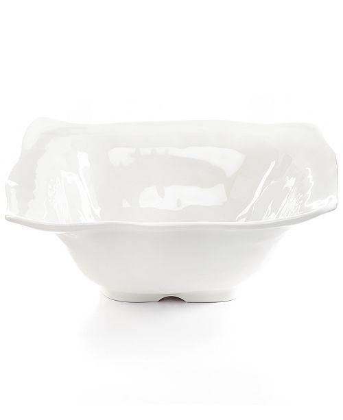 Q Squared White Ruffle Melamine Serving Bowl