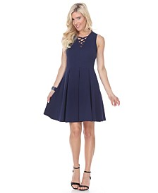 White Mark Women's Shay Fit and Flare Dress