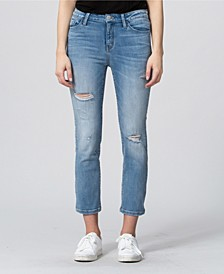 High Rise Distressed Crop Straight Leg Jeans