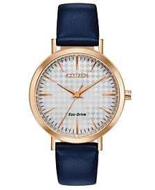 Drive From Eco-Drive Women's Blue Leather Strap Watch 36mm