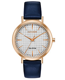 Drive From Citizen Eco-Drive Women's Blue Leather Strap Watch 36mm