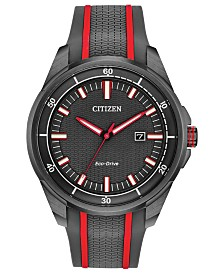 Drive From Citizen Eco-Drive Men's Gray Silicone Strap Watch 45mm