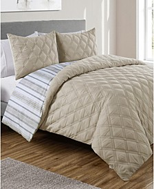 Quad Diamond 3-Pc. Full/Queen Reversible Duvet Cover Set
