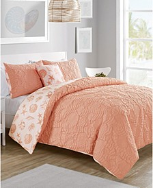 Beach Island 4-Pc. Full/Queen Reversible Duvet Cover Set