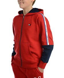 Tommy Hilfiger Big Boys Vinny Pieced Colorblocked Full-Zip Fleece Logo Hoodie