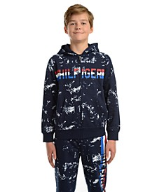 Big Boys Edwin Splatter-Print Full-Zip Fleece Logo Hoodie