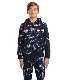 Tommy Hilfiger Big Boys Edwin Splatter-Print Full-Zip Fleece Logo Hoodie