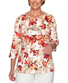 Alfred Dunner Classics  Leaf-Print Studded Top