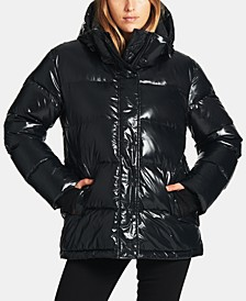 High-Shine Hooded Down Puffer Coat